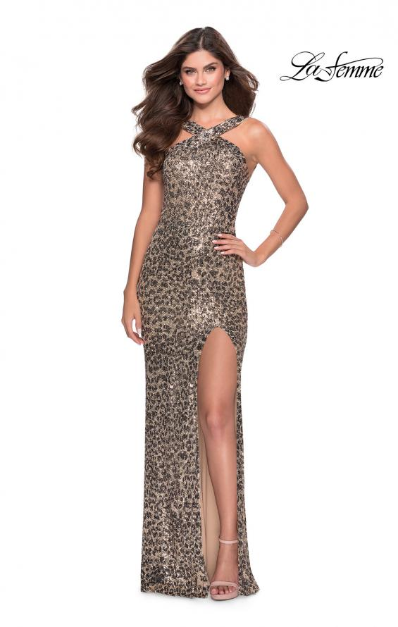 Picture of: Sequin Leopard Print Dress with Criss Cross Neck in Leopard, Style: 28672, Detail Picture 1