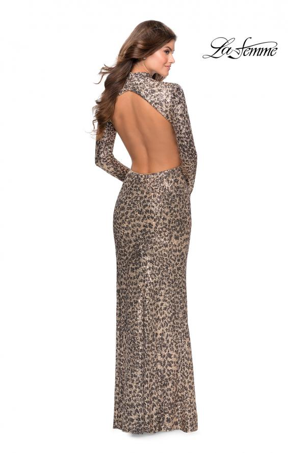 Picture of: Long Sleeve Sequin Leopard Print Dress with Cutouts in Leopard, Style: 28667, Detail Picture 2