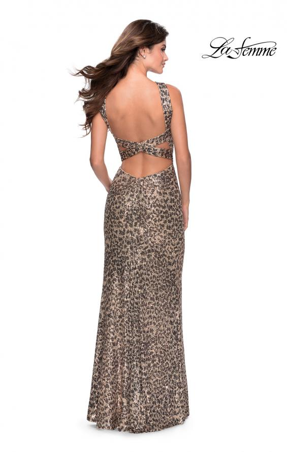 Picture of: Sequin Leopard Print Dress with Criss Cross Neck in Leopard, Style: 28672, Detail Picture 2
