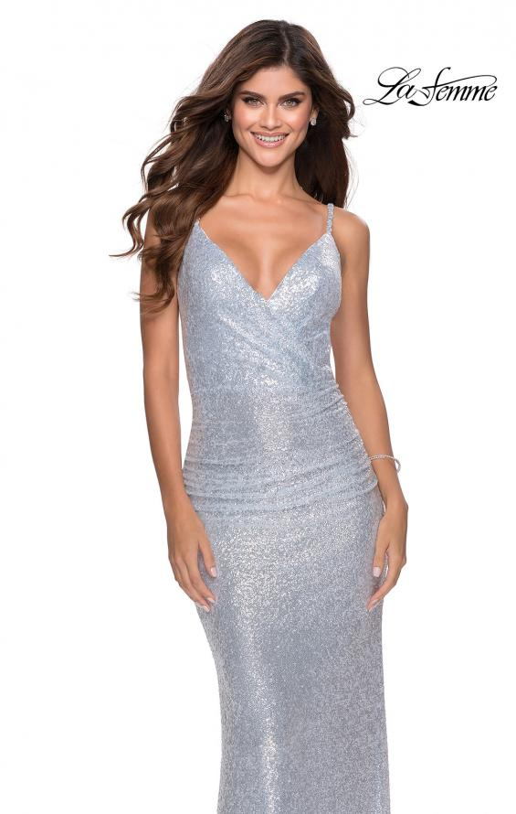Picture of: Ruched Sequin Floor Length Prom Dress in Light Blue, Style: 28335, Main Picture