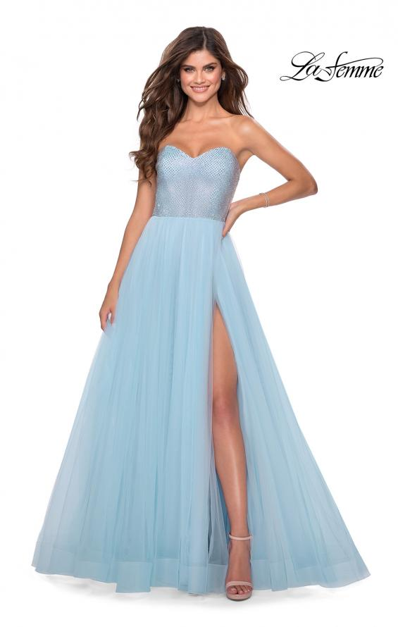 Picture of: Tulle A-line Ball Gown with Net Beaded Bodice in Light Blue, Style: 28559, Main Picture