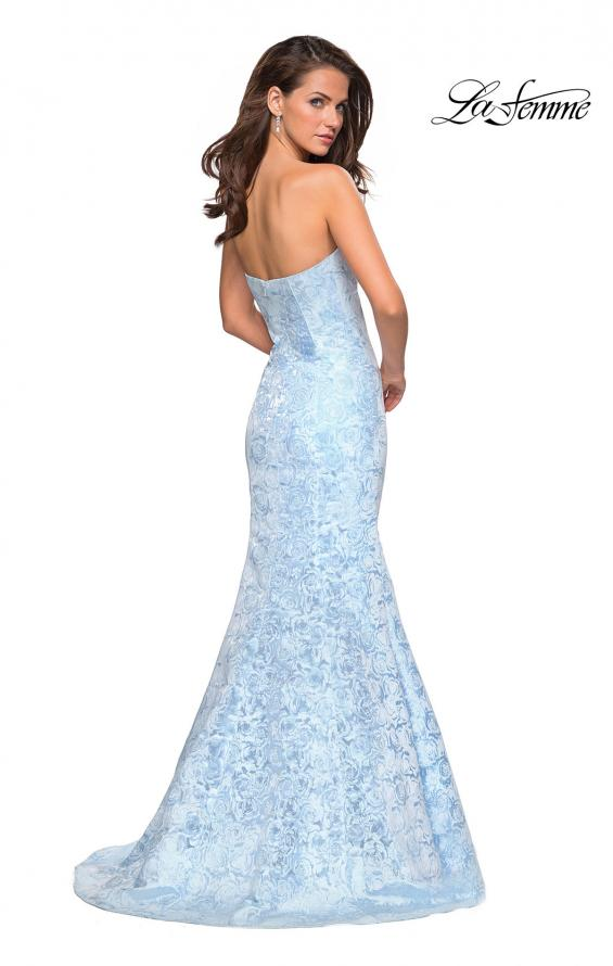 Picture of: Floral Strapless Floor Length Mermaid Prom Gown in Light Blue, Style: 26975, Back Picture