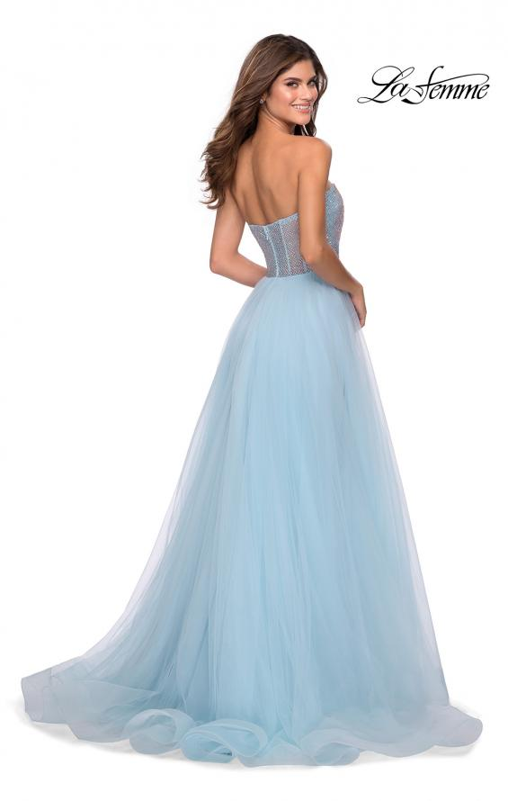 Picture of: Tulle A-line Ball Gown with Net Beaded Bodice in Light Blue, Style: 28559, Back Picture