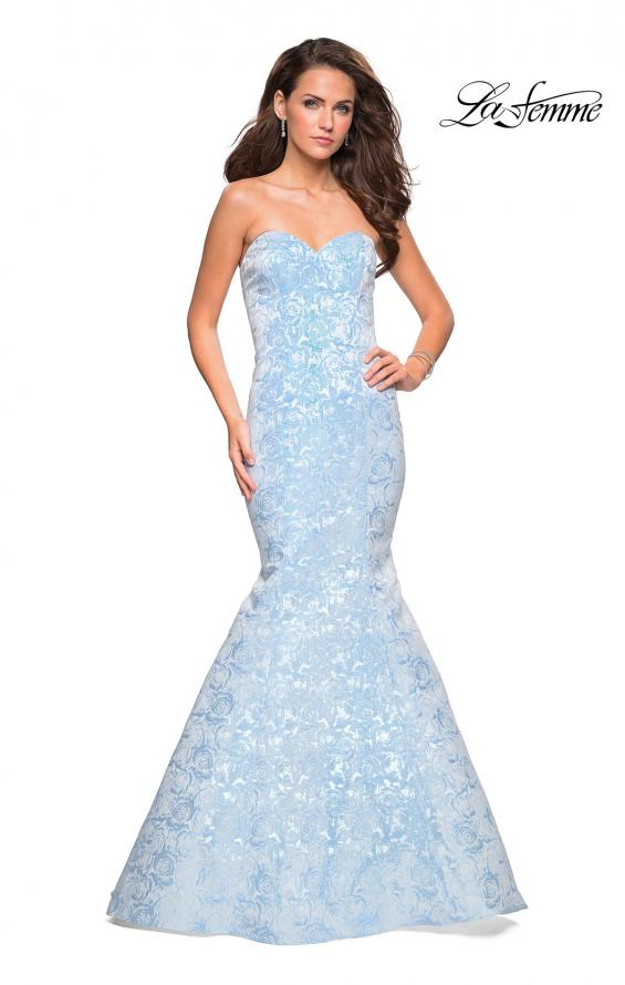 Picture of: Floral Strapless Floor Length Mermaid Prom Gown in Light Blue, Style: 26975, Detail Picture 1