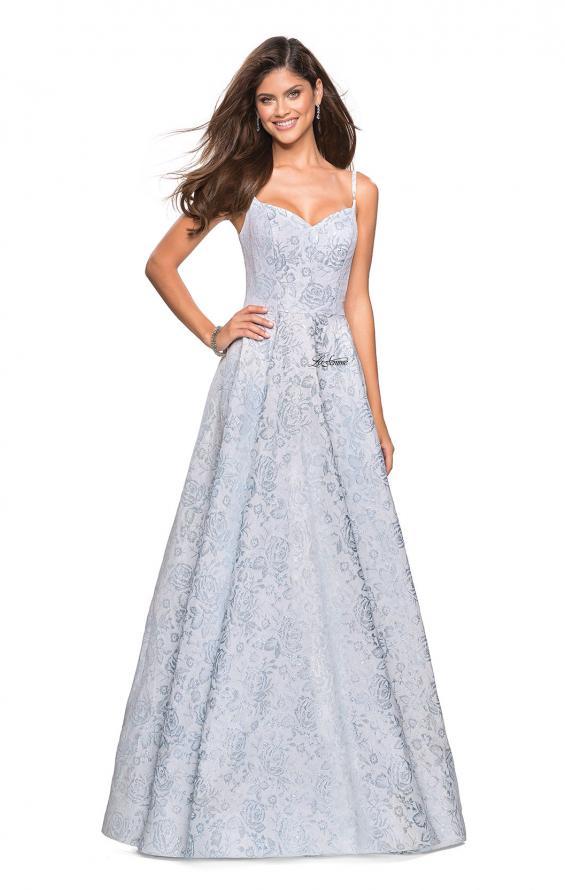 Picture of: Floral Print Long Sweetheart Prom Dress in Light Blue, Style: 27162, Detail Picture 1