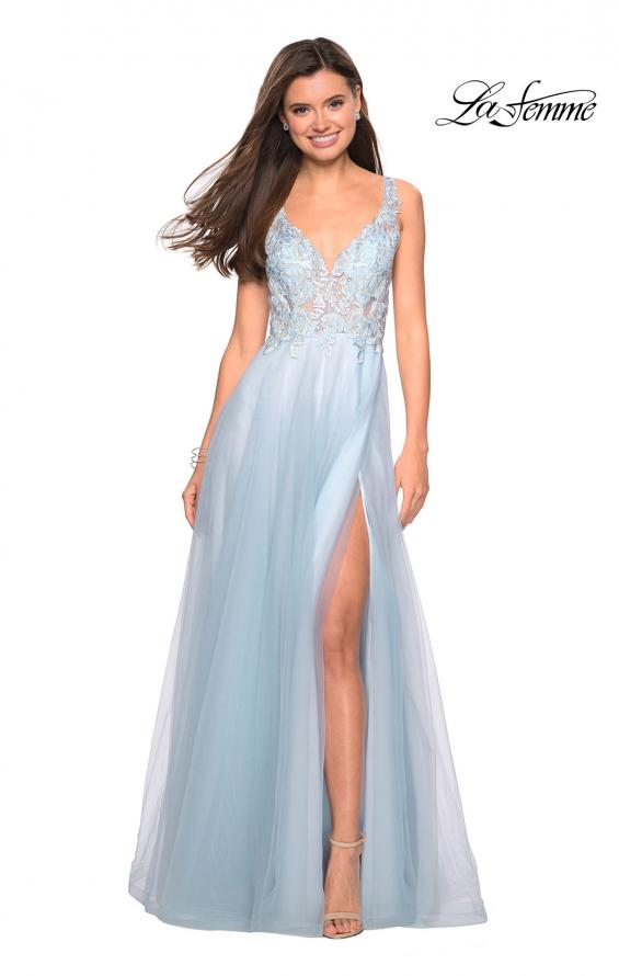 Picture of: Floor Length Tulle Gown with Plunging Lace Bodice, Style: 27621, Detail Picture 1