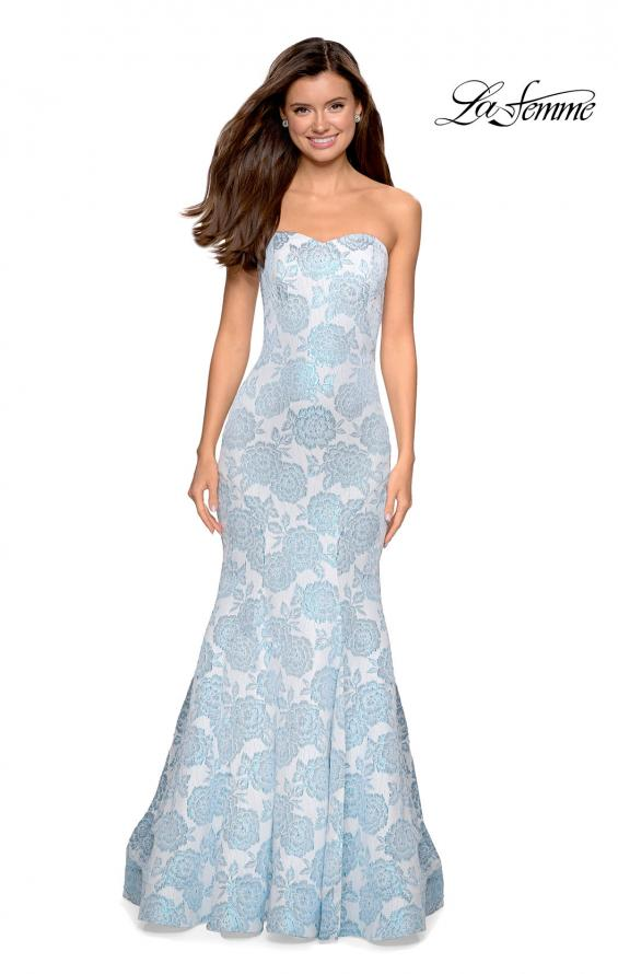Picture of: Mermaid Style Rose Printed Strapless Prom Dress in Light Blue, Style: 27286, Detail Picture 2