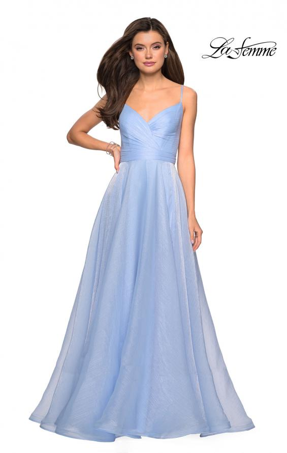 Picture of: Long Metallic Chiffon Dress with Ruching and V Back in Light Blue, Style: 27616, Detail Picture 2