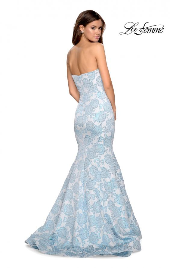Picture of: Mermaid Style Rose Printed Strapless Prom Dress in Light Blue, Style: 27286, Detail Picture 3