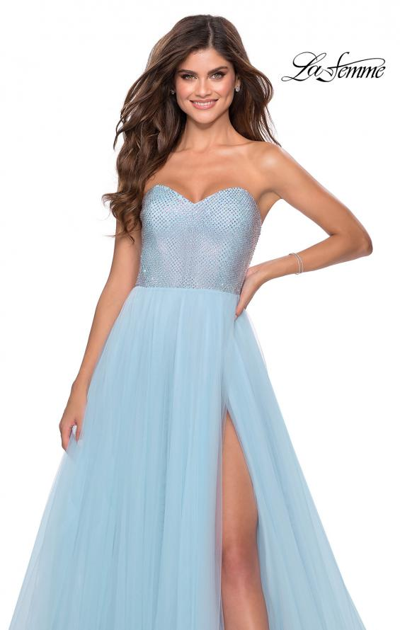 Picture of: Tulle A-line Ball Gown with Net Beaded Bodice in Light Blue, Style: 28559, Detail Picture 4