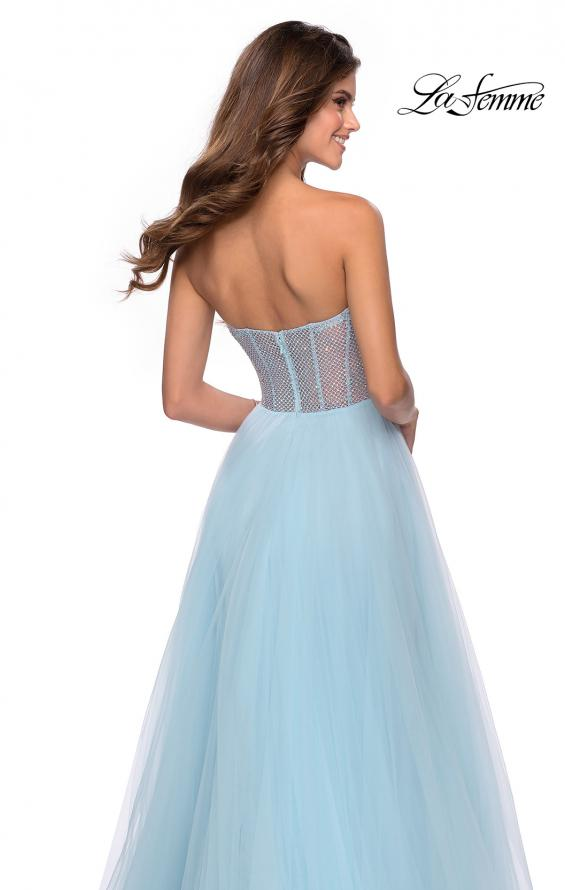 Picture of: Tulle A-line Ball Gown with Net Beaded Bodice in Light Blue, Style: 28559, Detail Picture 5