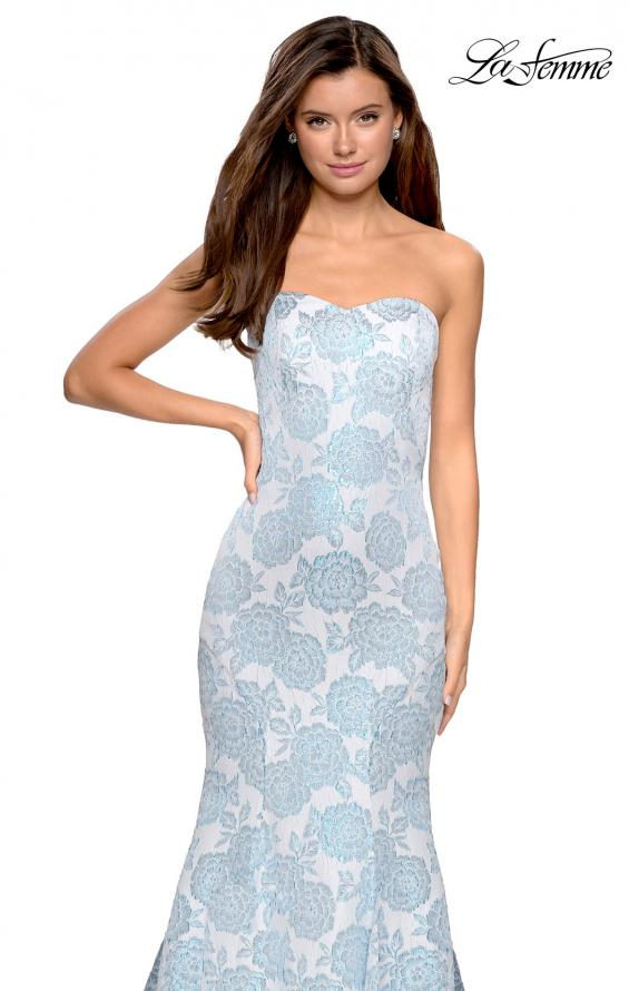 Picture of: Mermaid Style Rose Printed Strapless Prom Dress in Light Blue, Style: 27286, Detail Picture 6