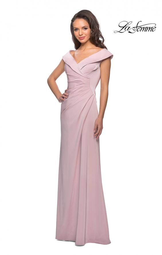Picture of: Satin Floor Length Gown with Ruched Detailing in Light Blush, Style: 26523, Detail Picture 5