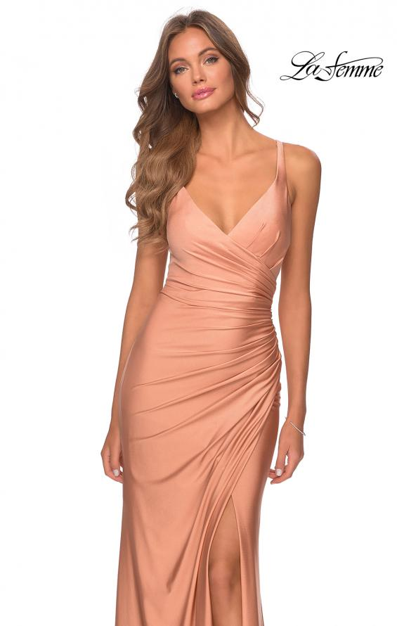 Picture of: Ruched Jersey Prom Dress with Tie Up Back in Light Copper, Style: 28421, Detail Picture 6