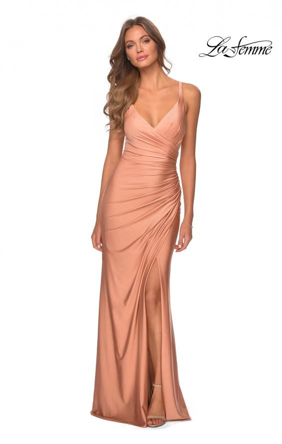 Picture of: Ruched Jersey Prom Dress with Tie Up Back in Light Copper, Style: 28421, Detail Picture 7