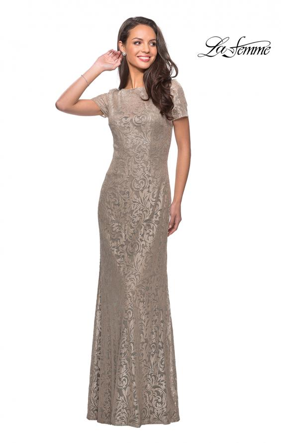 Picture of: Floor Length Lace Gown with Short Sleeves in Light Gold, Style: 25528, Main Picture