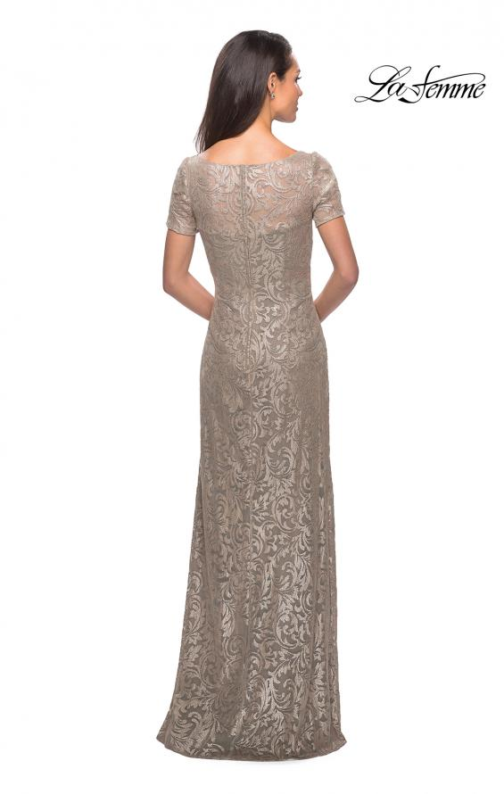 Picture of: Floor Length Lace Gown with Short Sleeves in Light Gold, Style: 25528, Back Picture