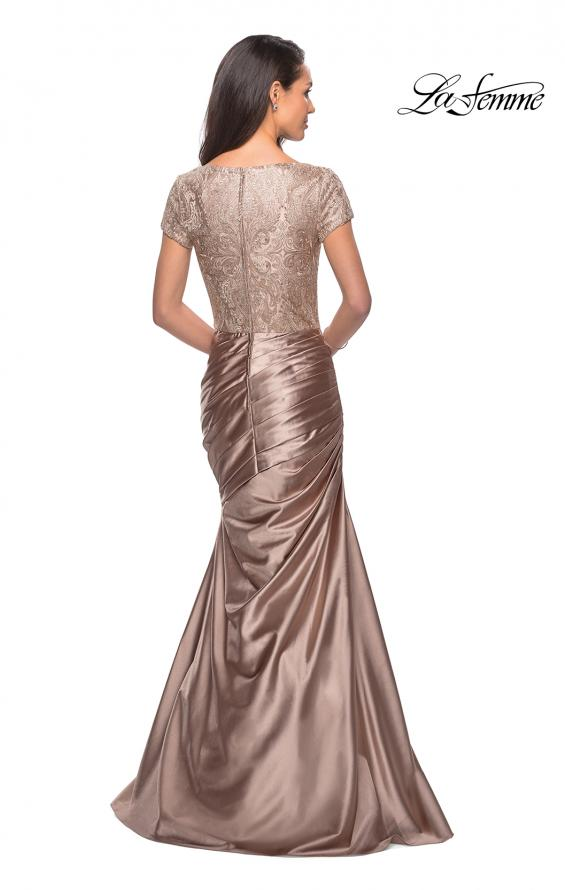 Picture of: Long Gown with Short Sleeve Lace Bodice and Ruching, Style: 26404, Back Picture