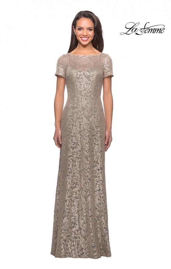 Picture of: Floor Length Lace Gown with Short Sleeves in Light Gold, Style: 25528, Detail Picture 1