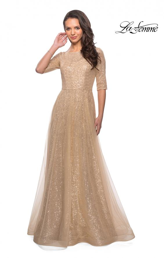 Picture of: Fully Sequined Floor Length Gown with Pockets in Light Gold, Style: 27016, Detail Picture 3