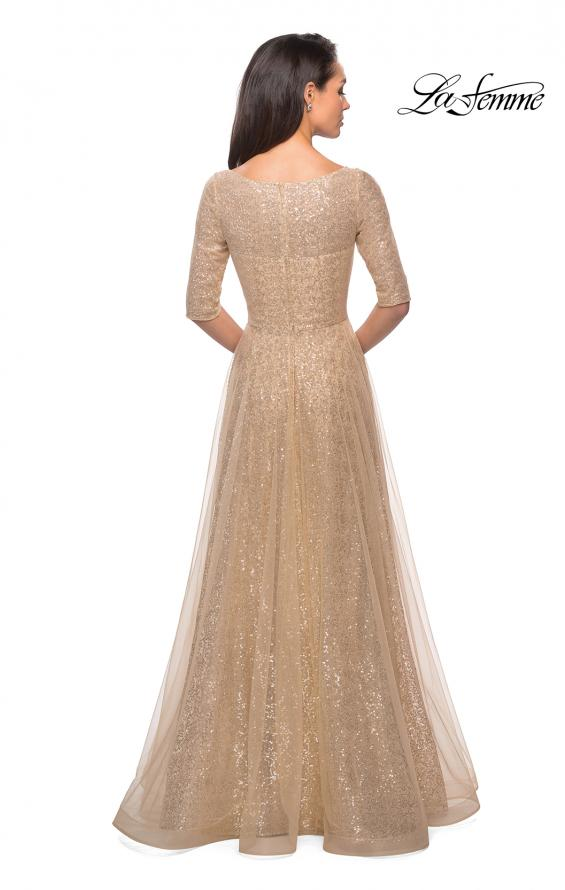 Picture of: Fully Sequined Floor Length Gown with Pockets in Light Gold, Style: 27016, Detail Picture 4