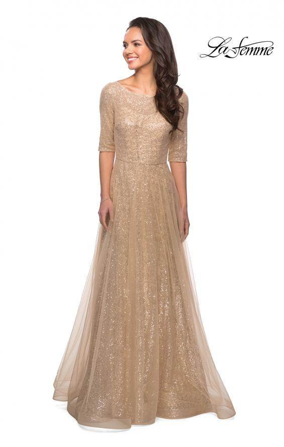 Picture of: Fully Sequined Floor Length Gown with Pockets in Light Gold, Style: 27016, Detail Picture 5