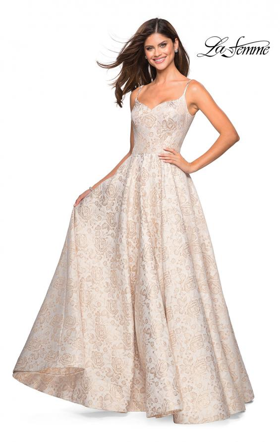 Picture of: Floral Print Long Sweetheart Prom Dress in Light Gold, Style: 27162, Main Picture
