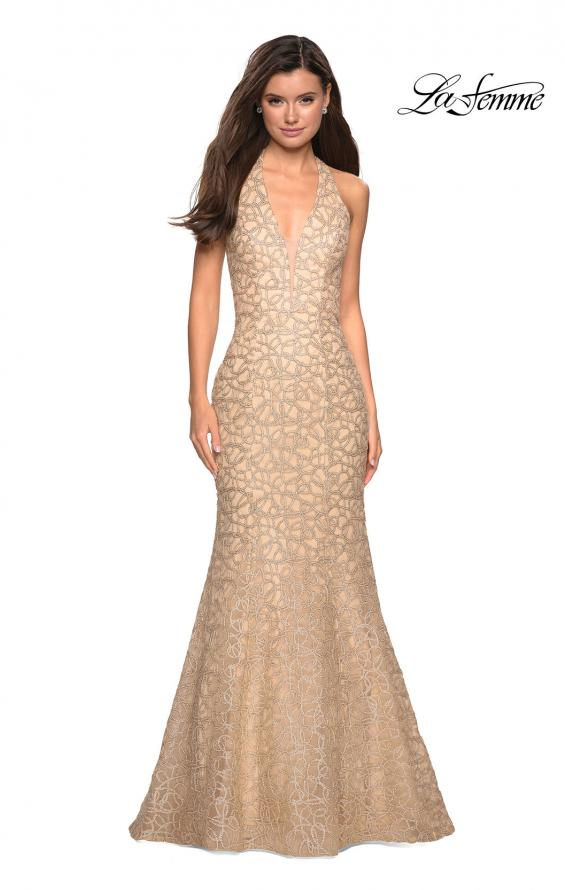 Picture of: Metallic Lace Halter Long Prom Dress with Open Back in Light Gold, Style: 27228, Main Picture