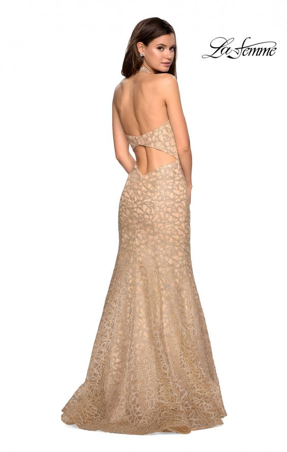 Picture of: Metallic Lace Halter Long Prom Dress with Open Back in Light Gold, Style: 27228, Back Picture