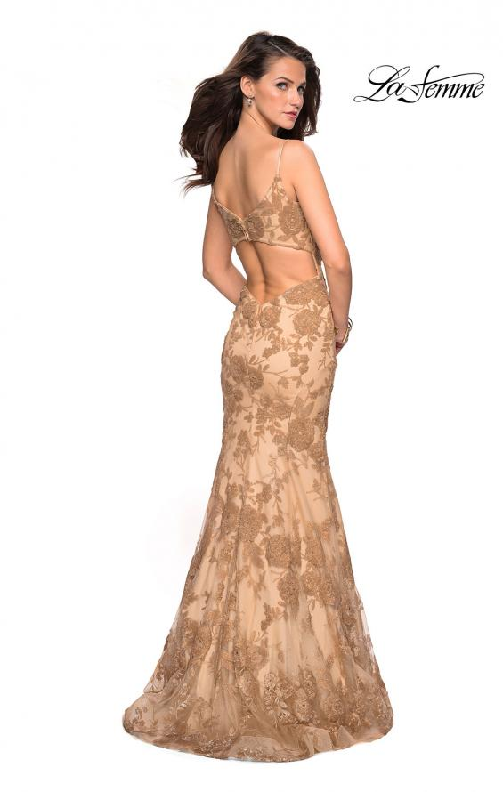 Picture of: Long Gold Prom Dress with Sequin Floral Design, Style: 27285, Back Picture