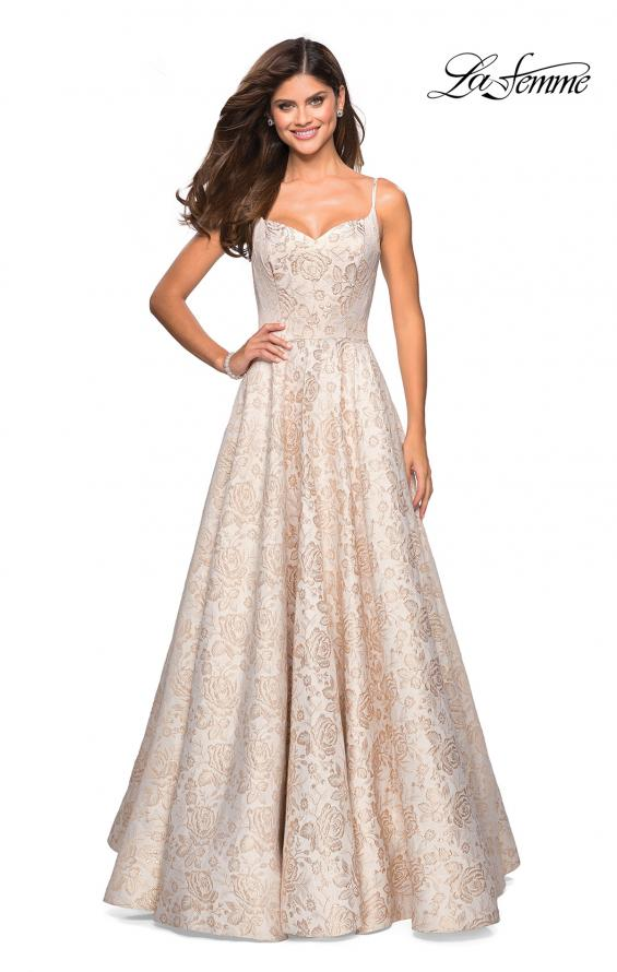 Picture of: Floral Print Long Sweetheart Prom Dress in Light Gold, Style: 27162, Detail Picture 2