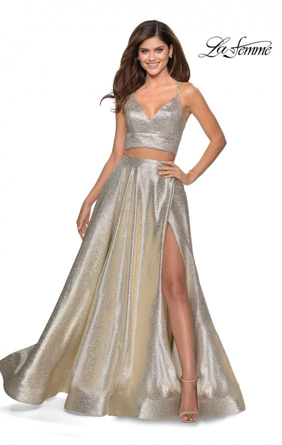 Picture of: Two Piece Shimmer Prom Dress with Pockets in Light Gold, Style: 28618, Detail Picture 2