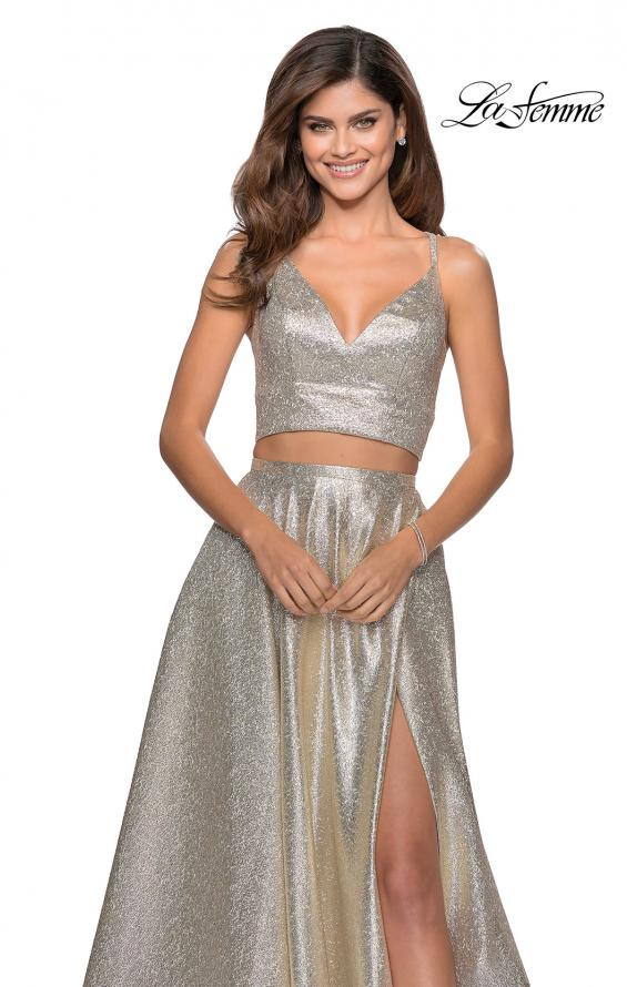 Picture of: Two Piece Shimmer Prom Dress with Pockets in Light Gold, Style: 28618, Detail Picture 5