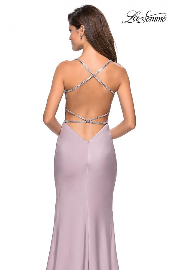 Picture of: Classic Form Fitting Jersey Floor Length Prom Dress in Light Mauve, Style: 27581, Back Picture