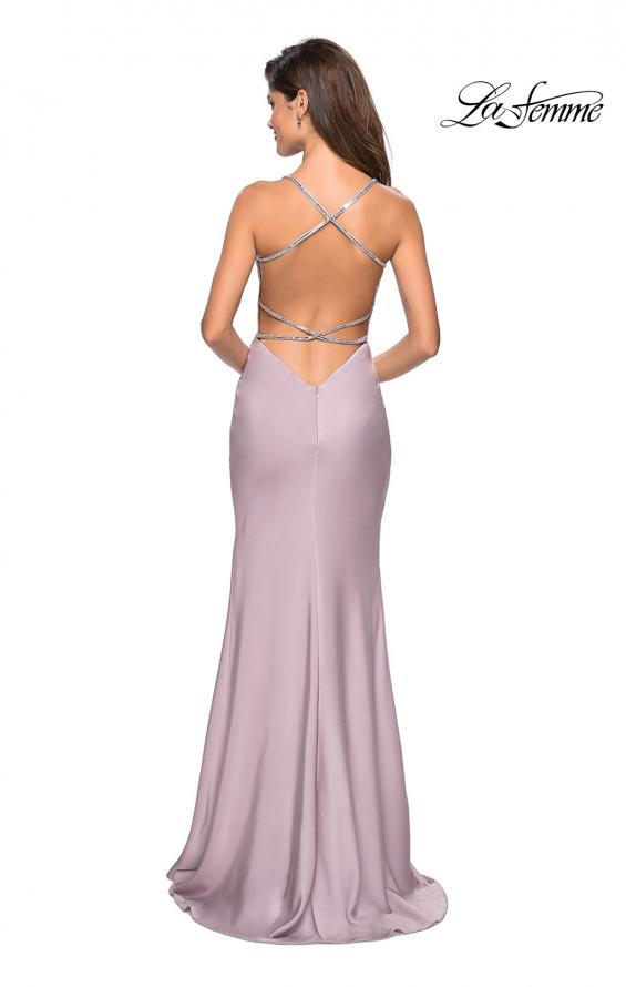 Picture of: Classic Form Fitting Jersey Floor Length Prom Dress in Light Mauve, Style: 27581, Detail Picture 1