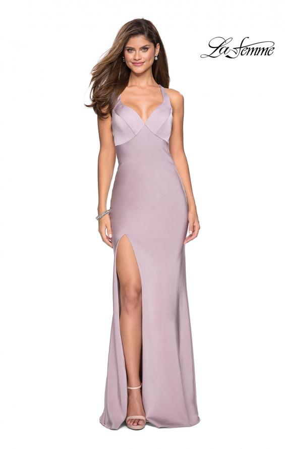 Picture of: Classic Form Fitting Jersey Floor Length Prom Dress in Light Mauve, Style: 27581, Detail Picture 2