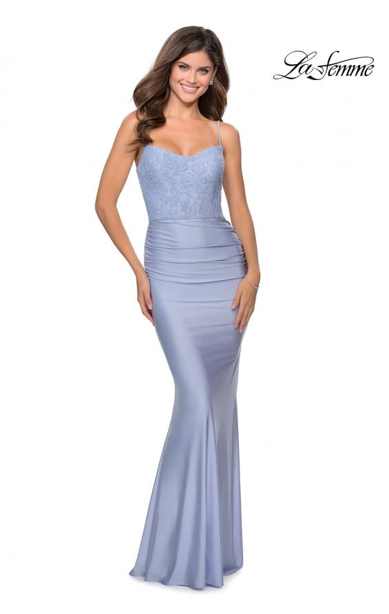 Picture of: Jersey Prom Dress with Lace Bodice and Rhinestones in Light Periwinkle, Style: 28558, Detail Picture 2