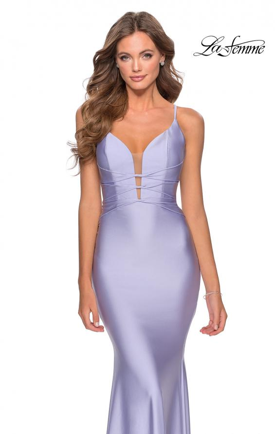Picture of: Long Prom Dress with Knotted Detail and Lace Up Back in Light Periwinkle, Style: 28574, Detail Picture 2
