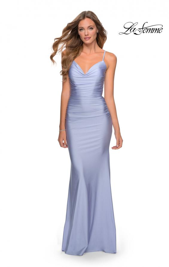 Picture of: Form Fitting Jersey Dress with Ruching and Strappy Back in Light Periwinkle, Style: 27501, Detail Picture 4