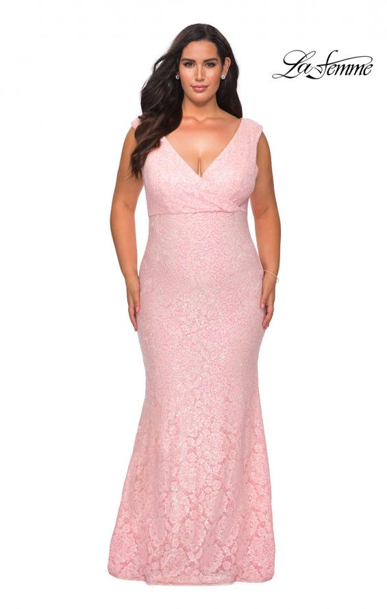 Picture of: Curvy Stretch Lace Dress with V-Neck and Rhinestones in Light Pink, Style: 28837, Detail Picture 3