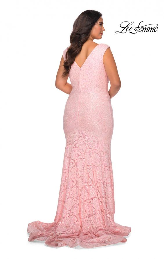 Picture of: Curvy Stretch Lace Dress with V-Neck and Rhinestones in Light Pink, Style: 28837