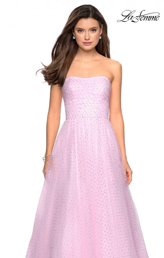 Picture of: Strapless Fully Rhinestone A-Line Prom Dress in Light Pink, Style: 27630, Detail Picture 8