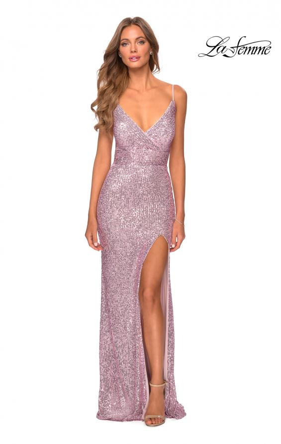 Picture of: Form Fitting Sequin Dress with Cut Out Open Back in Light Pink, Style: 28616, Detail Picture 8