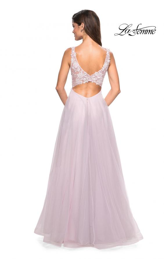Picture of: Floor Length Tulle Gown with Plunging Lace Bodice, Style: 27621, Back Picture