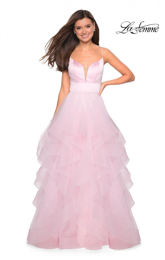 Picture of: Tulle A Line Dress with Plunging Sweetheart Neckline in Light Pink, Style: 27024, Detail Picture 1