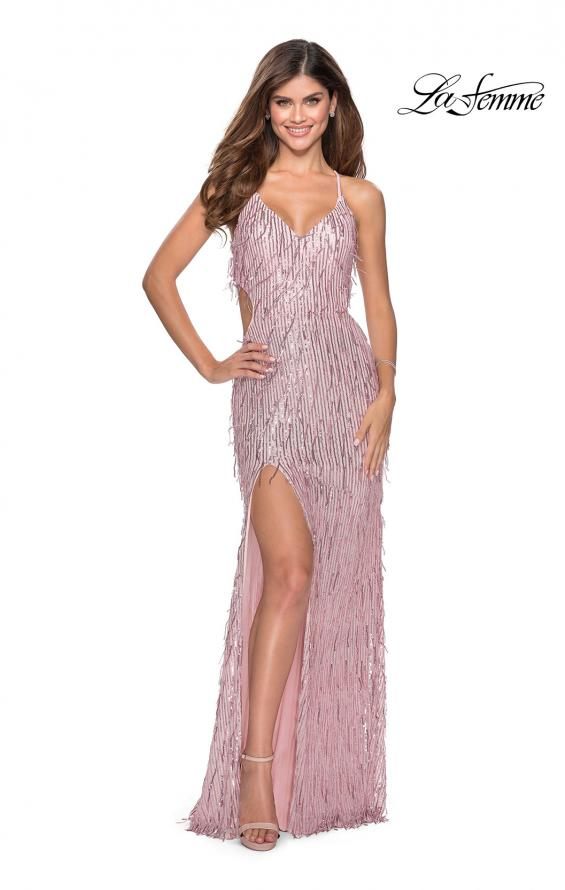 Picture of: Long Fringe Sequin Prom Dress with Cut Outs in Light Pink, Style: 28609, Detail Picture 1