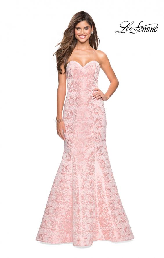 Picture of: Floral Strapless Floor Length Mermaid Prom Gown in Light Pink, Style: 26975, Detail Picture 2