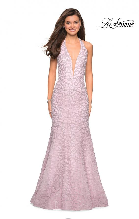Picture of: Metallic Lace Halter Long Prom Dress with Open Back in Light Pink, Style: 27228, Detail Picture 2