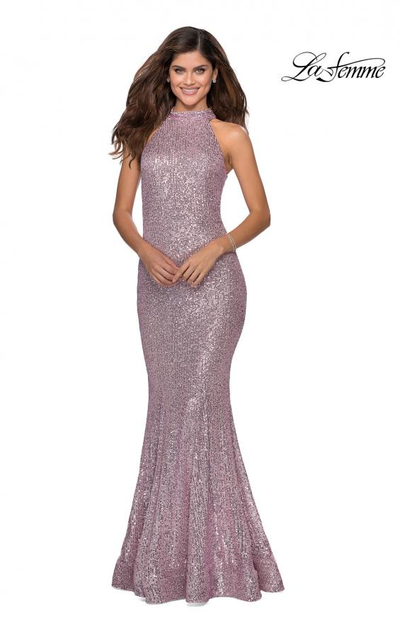Picture of: Long Sequin Gown with High Neckline and Lace Back in Light Pink, Style: 28612, Detail Picture 2