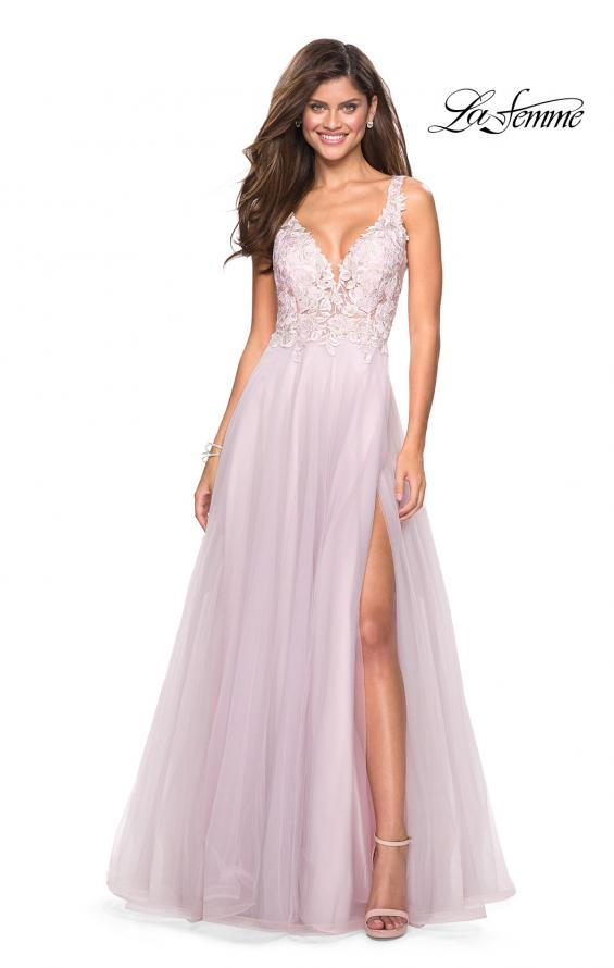 Picture of: Floor Length Tulle Gown with Plunging Lace Bodice, Style: 27621, Detail Picture 3